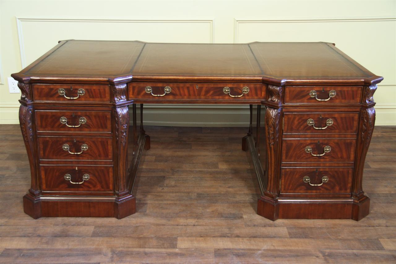 Leather Top Partners Desk Fine