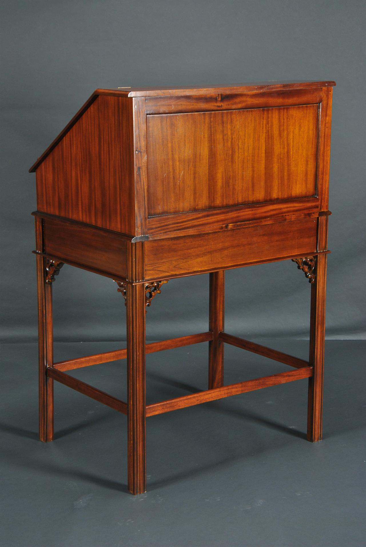 Mahogany And Leather Stand Up Desk Upright Desk With Drawers