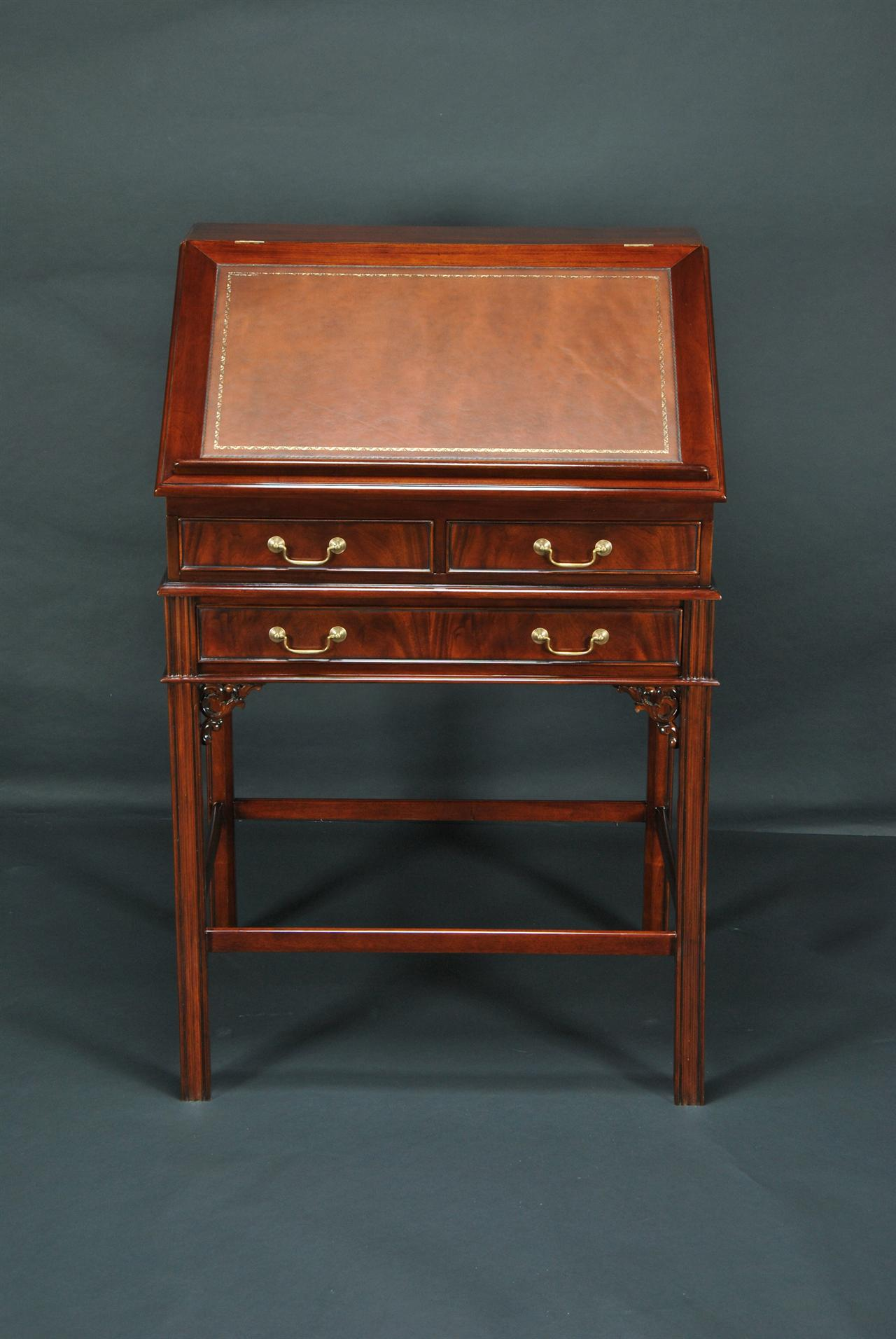 Leather top stand up desk with interior drawers