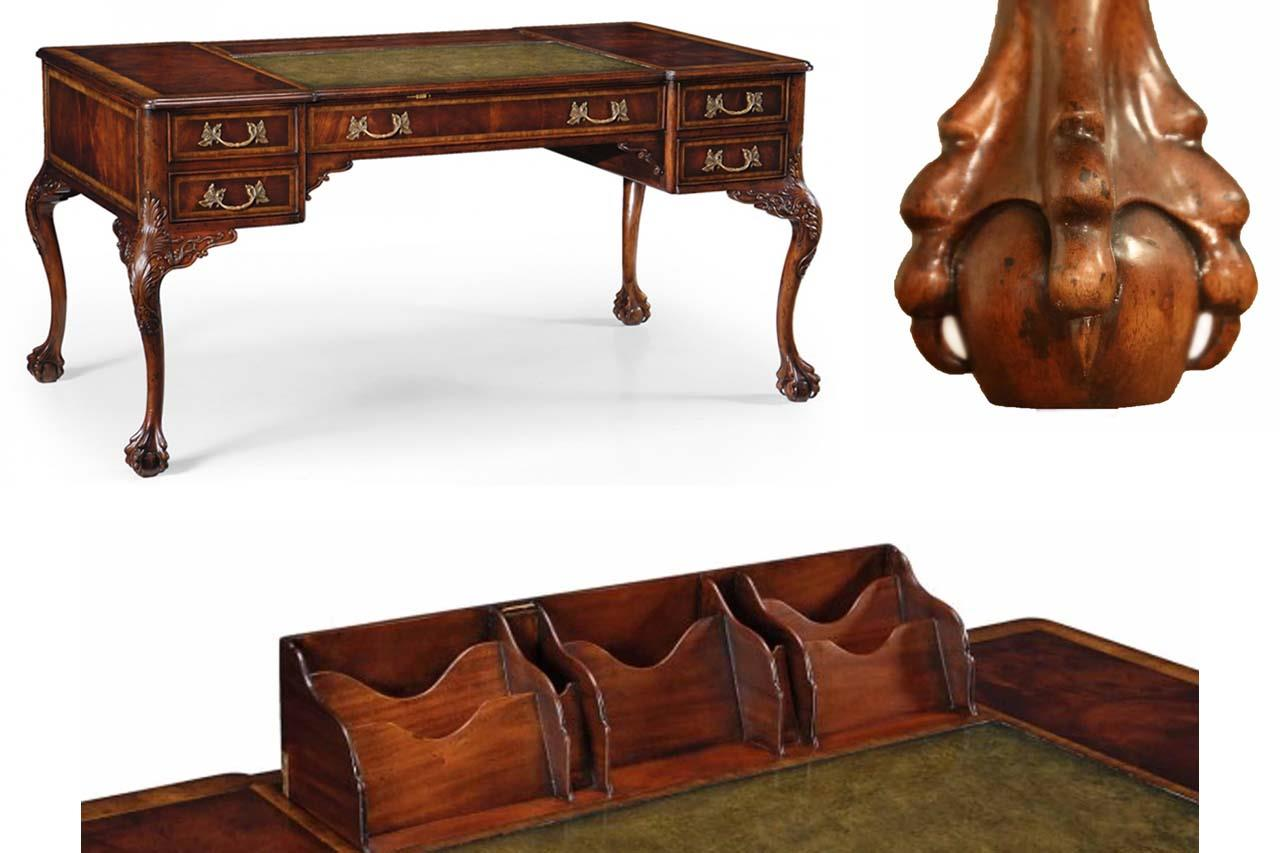 Chippendale style leather top desk with claw feet. - Leather Top Chippendale Writing Desk With Claw Feet
