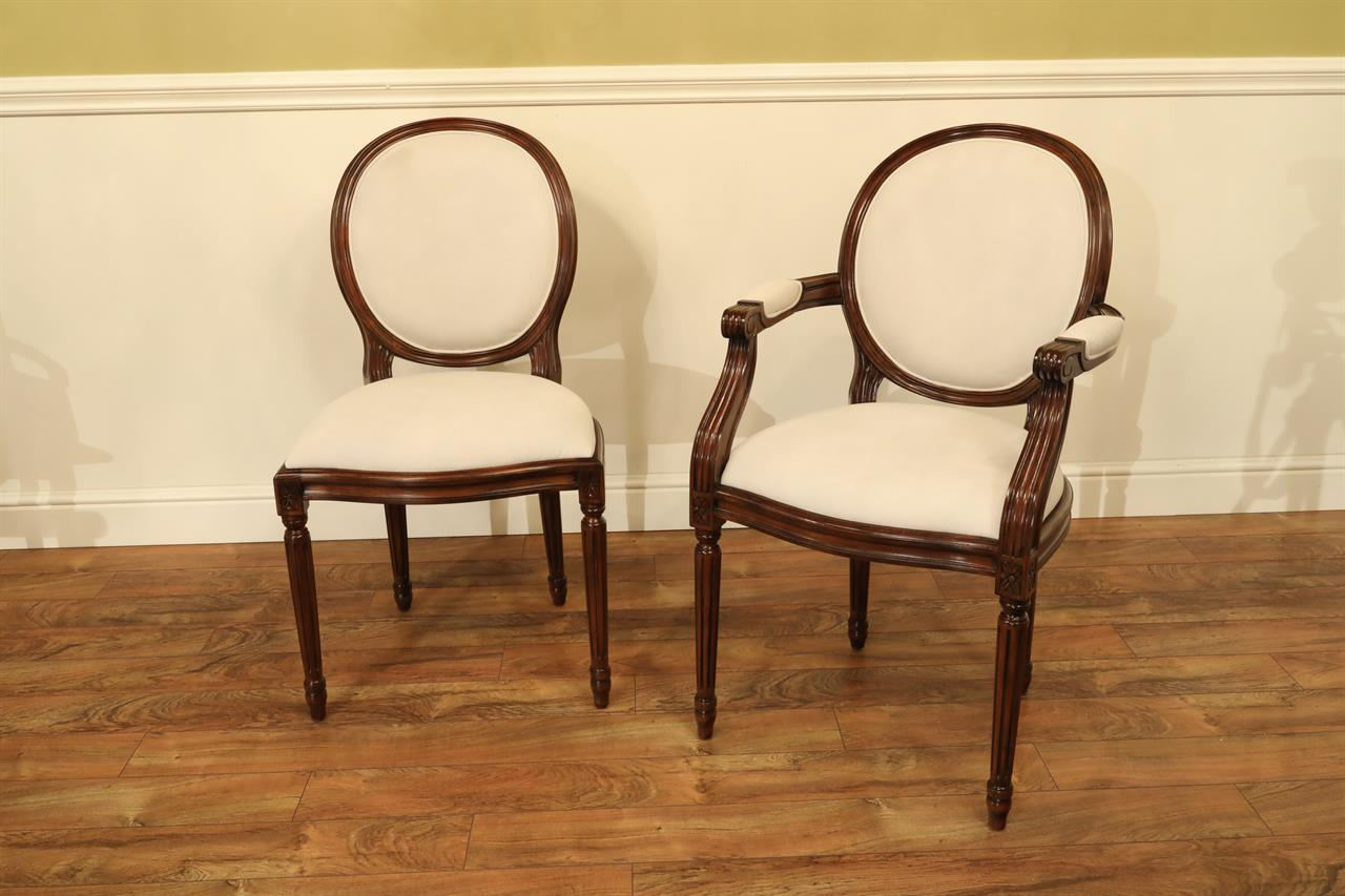 French Style Round Back Dining Chairs Solid Mahogany Chairs