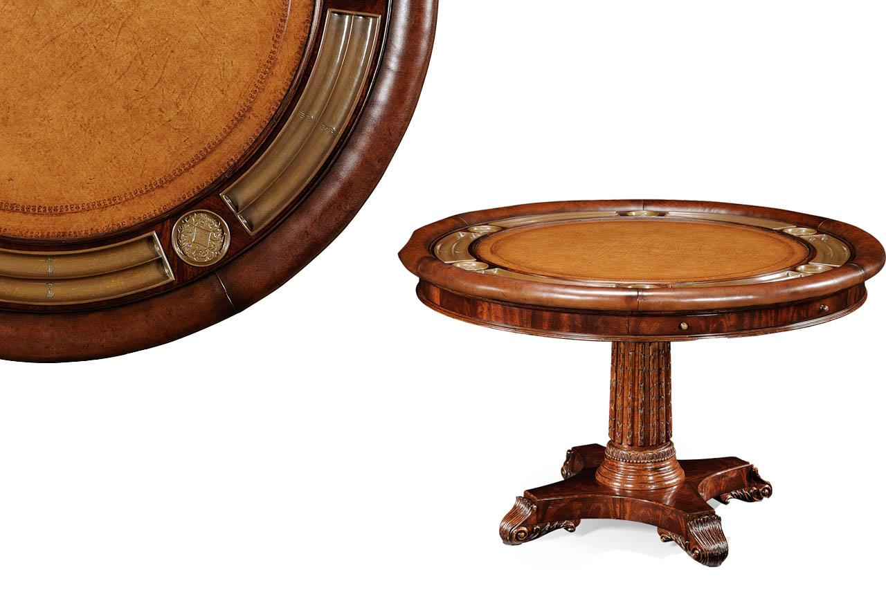 round leather top poker table mahogany games table round pok
