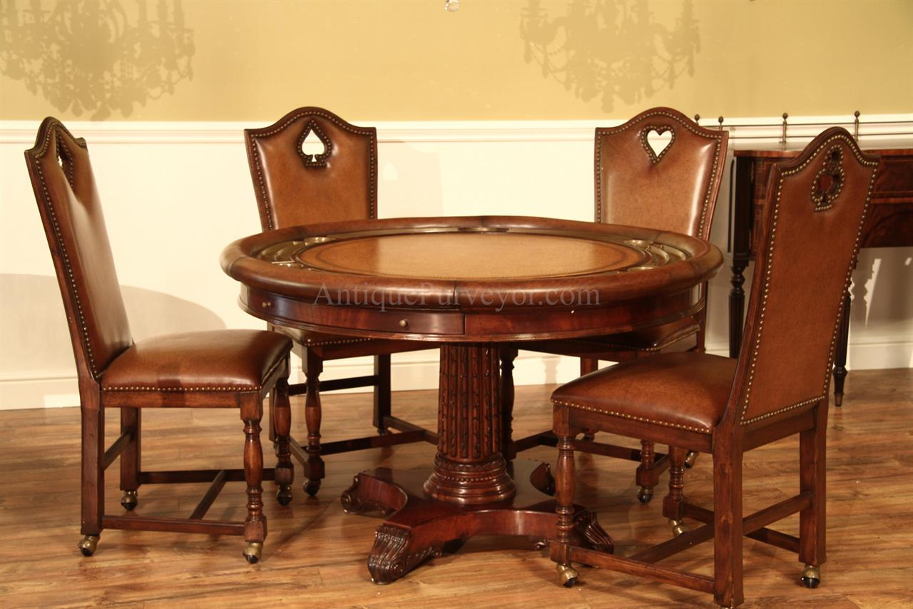Round Leather Top Poker Table Mahogany Games Table