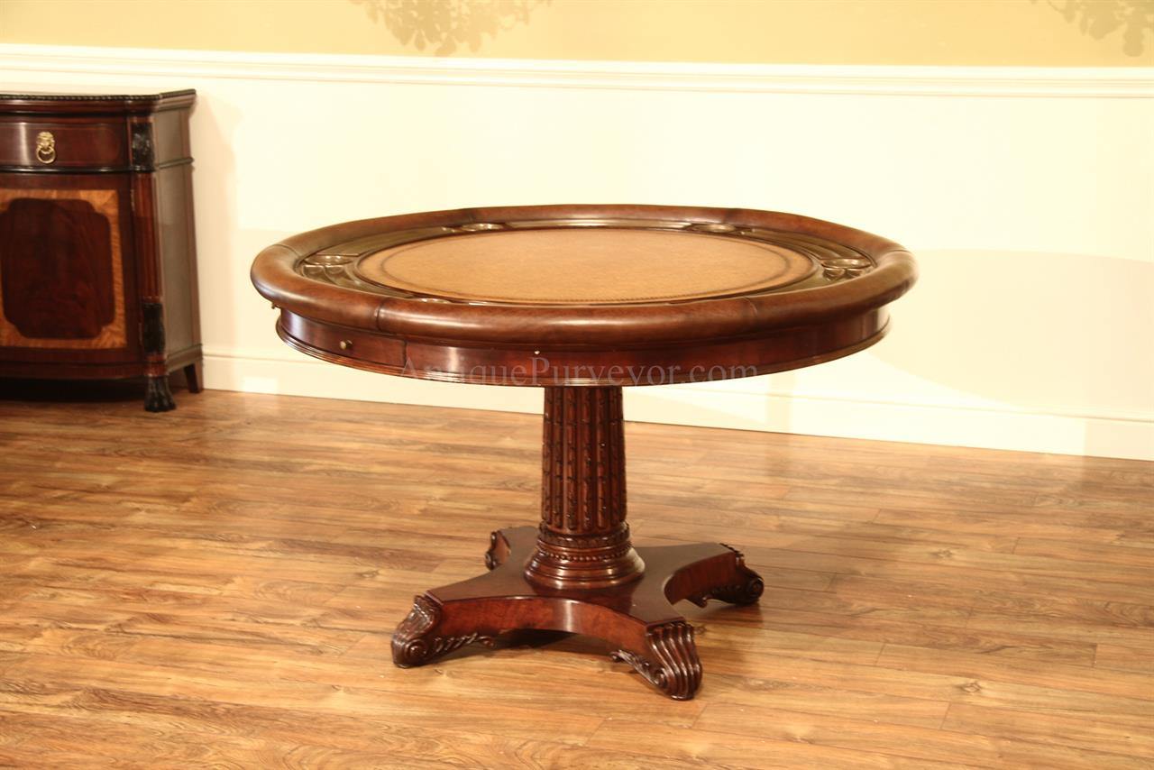 Luxurious 52 inch Round Traditional Leather Top Poker Table