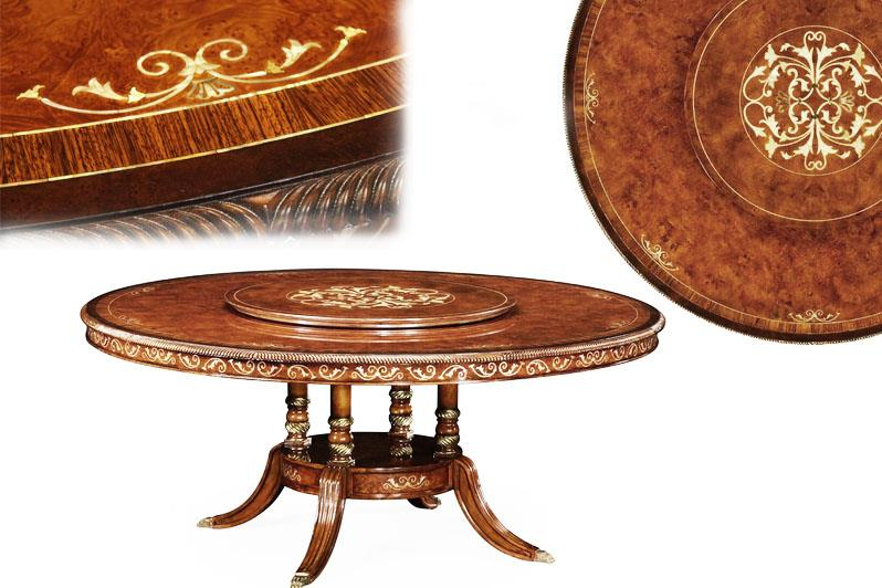 Luxurious 72 Round Table With Mother Of Pearl Inlay, Rope Turn Edging And  Birdcage Pedestal Base.