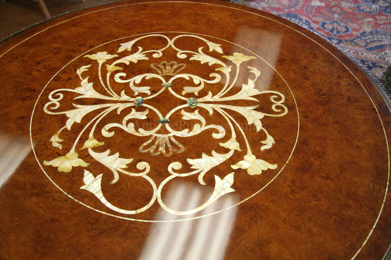 Inlaid Dining Table Luxurious 71 Inch Burl Walnut And Pearl Inlaid Dining Table