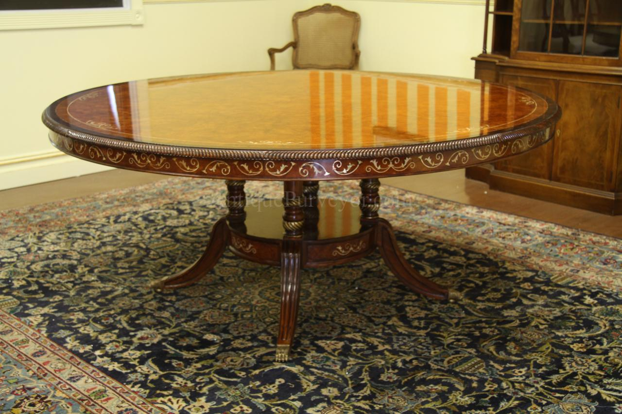 Luxurious 70 inch burly walnut round dining table on wide birdcage  pedestal  Optional lazy susan. Luxurious 72 inch Round Walnut and Pearl Inlaid Dining Table