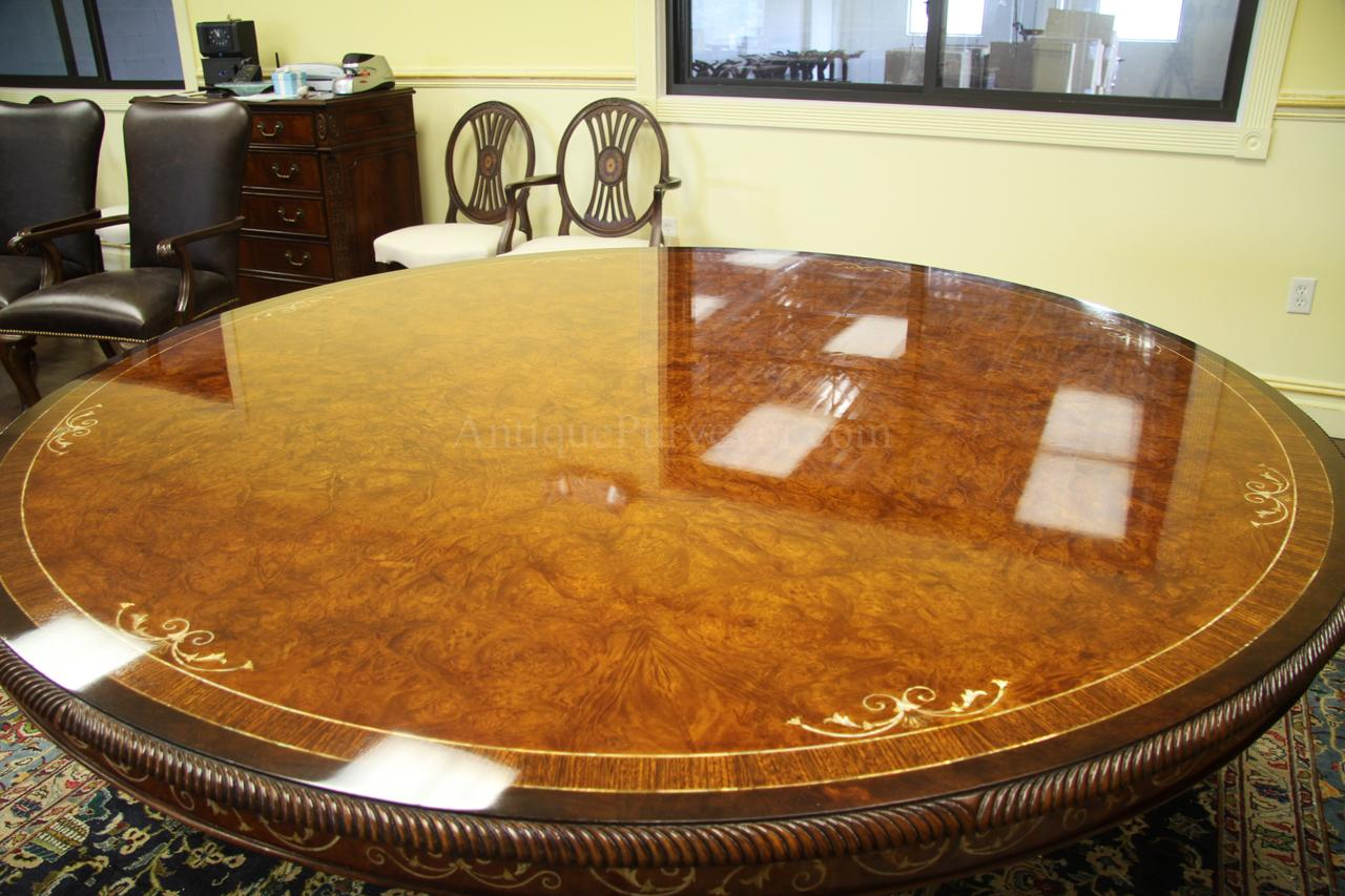 Luxurious 72 inch round walnut and pearl inlaid dining table for Expensive dining tables