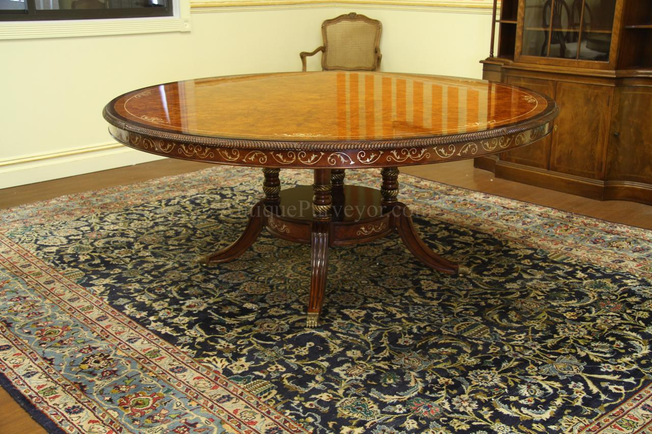 Luxurious 71 inch burl walnut and pearl inlaid dining for Dining room table 72