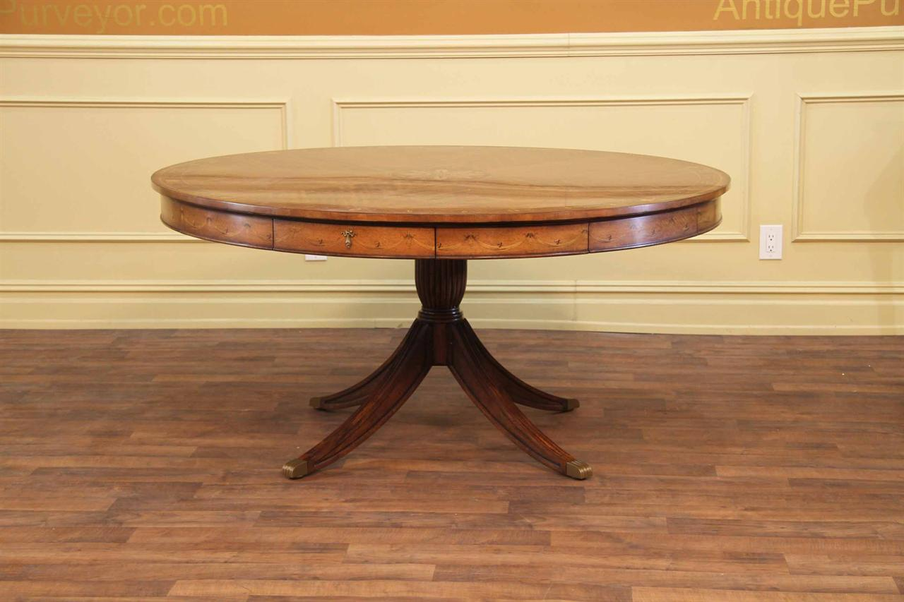 antique round dining table Round Adams Style Antique Reproduction Pedestal Dining Table antique round dining table