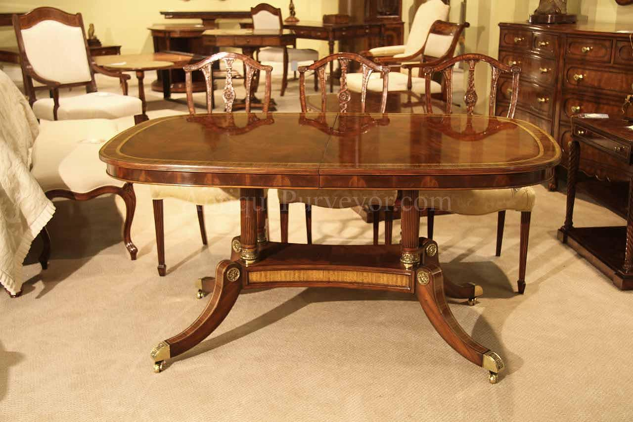 Formal luxurious brass accented dining table with self for Narrow dining room table with leaves