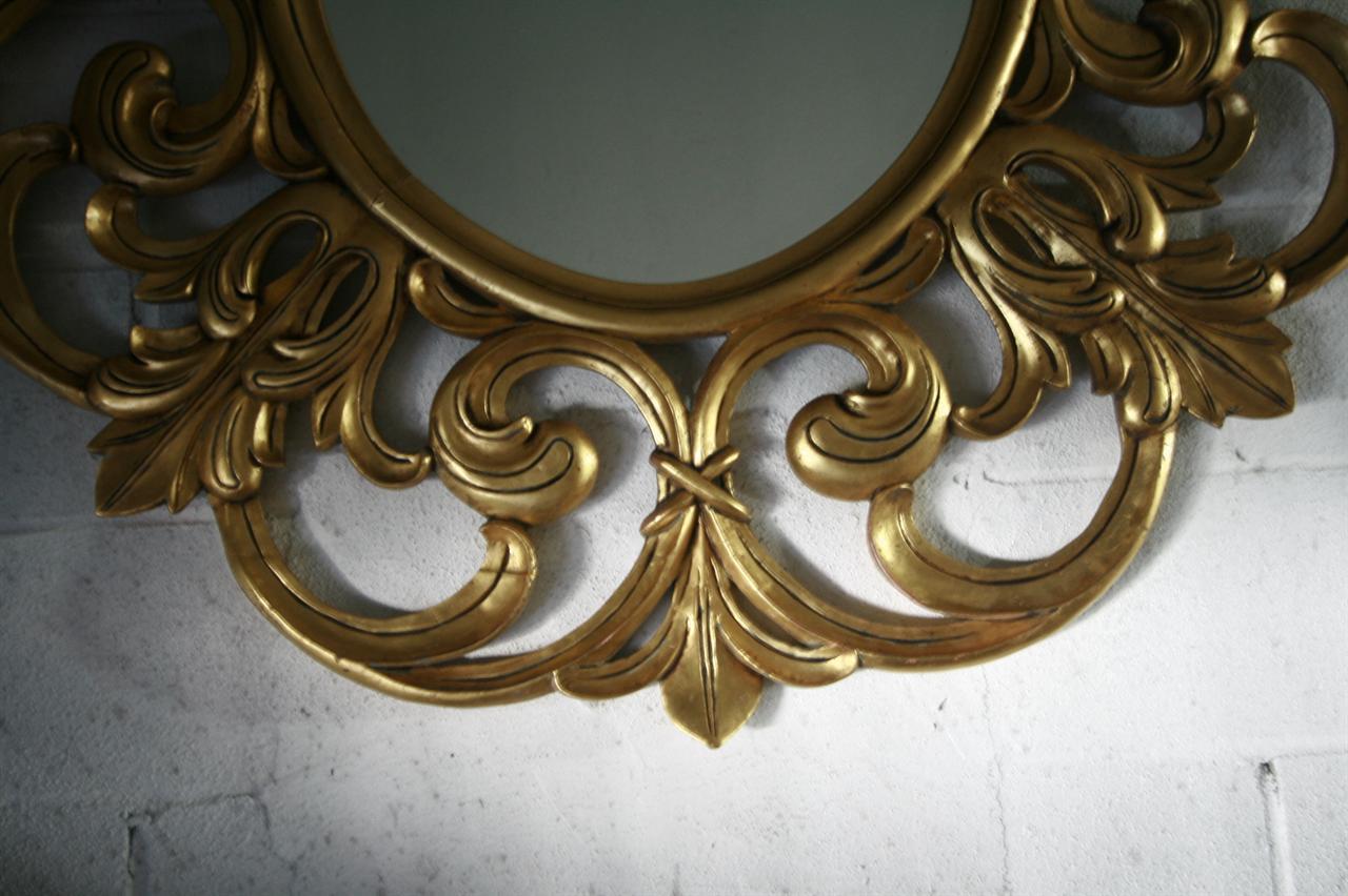 Extra Large Gold Leaf Mirror, Fine Luxury Mahogany Mirror
