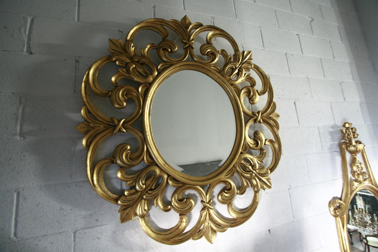 Extra large gold leaf mirror fine luxury mahogany mirror for Extra large round mirror