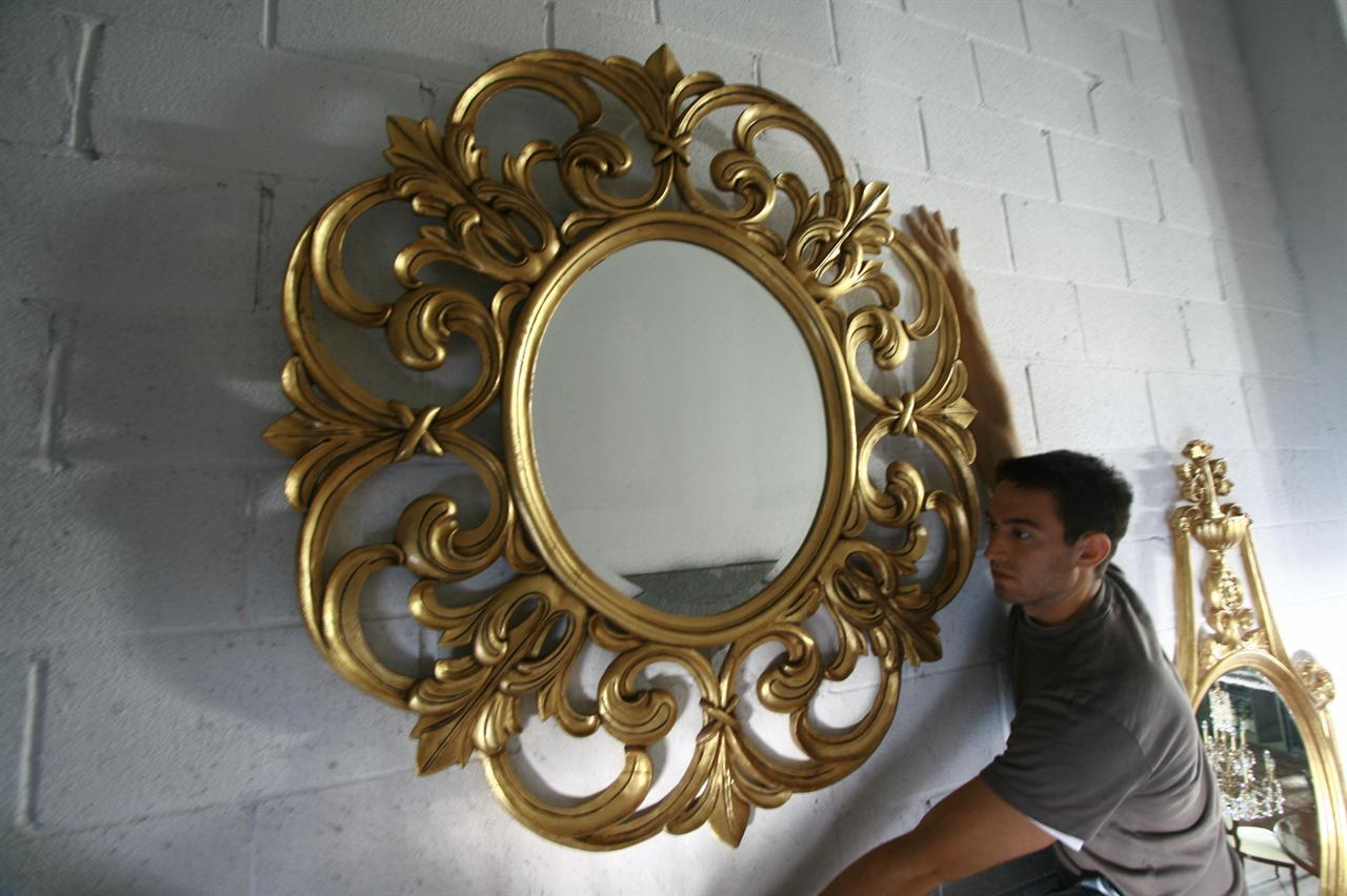 Extra large gold leaf mirror fine luxury mahogany mirror for Large round gold mirror