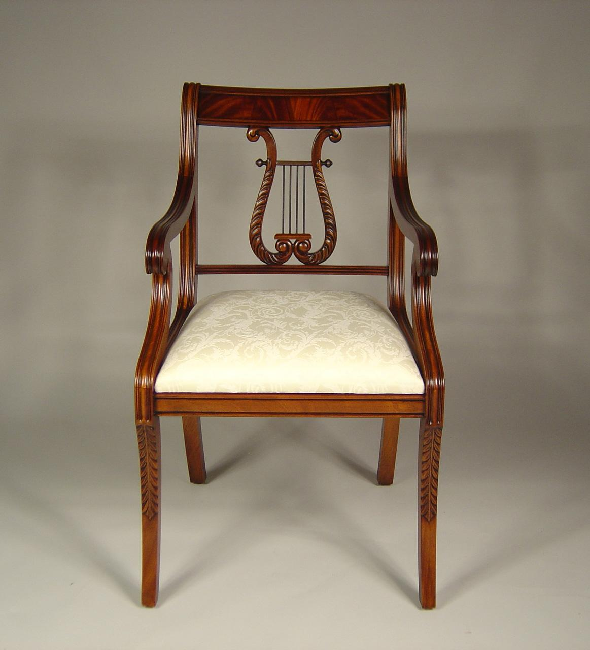 - Lyre Back Dining Room Chairs. Solid Mahogany Schmieg & Kotzian Design