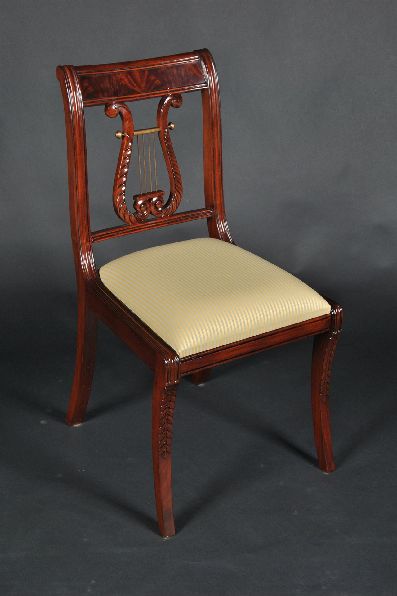 Lyre Back Dining Room Chairs. Solid Mahogany Schmieg ...