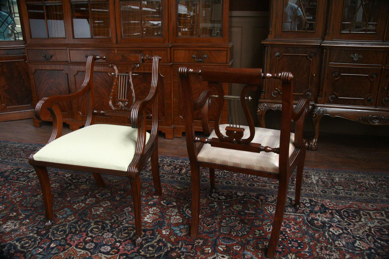 Lyre Back Dining Chairs, Lyre Back Chairs, Harp Back Dining Chairs