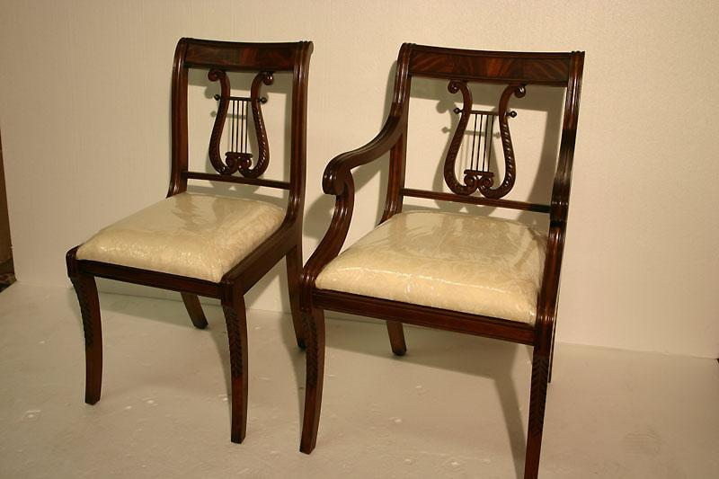 Lyre Back Dining Room Chairs. Harp Back Dining Chairs, Solid Mahogany - Lyre Back Dining Room Chairs. Solid Mahogany Schmieg & Kotzian Design