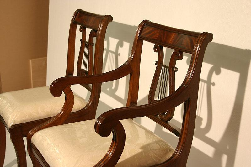 Duncan Phyfe Dining Chairs With Saber Leg, Traditional Dining Chairs, High  End. Lyre Back ...