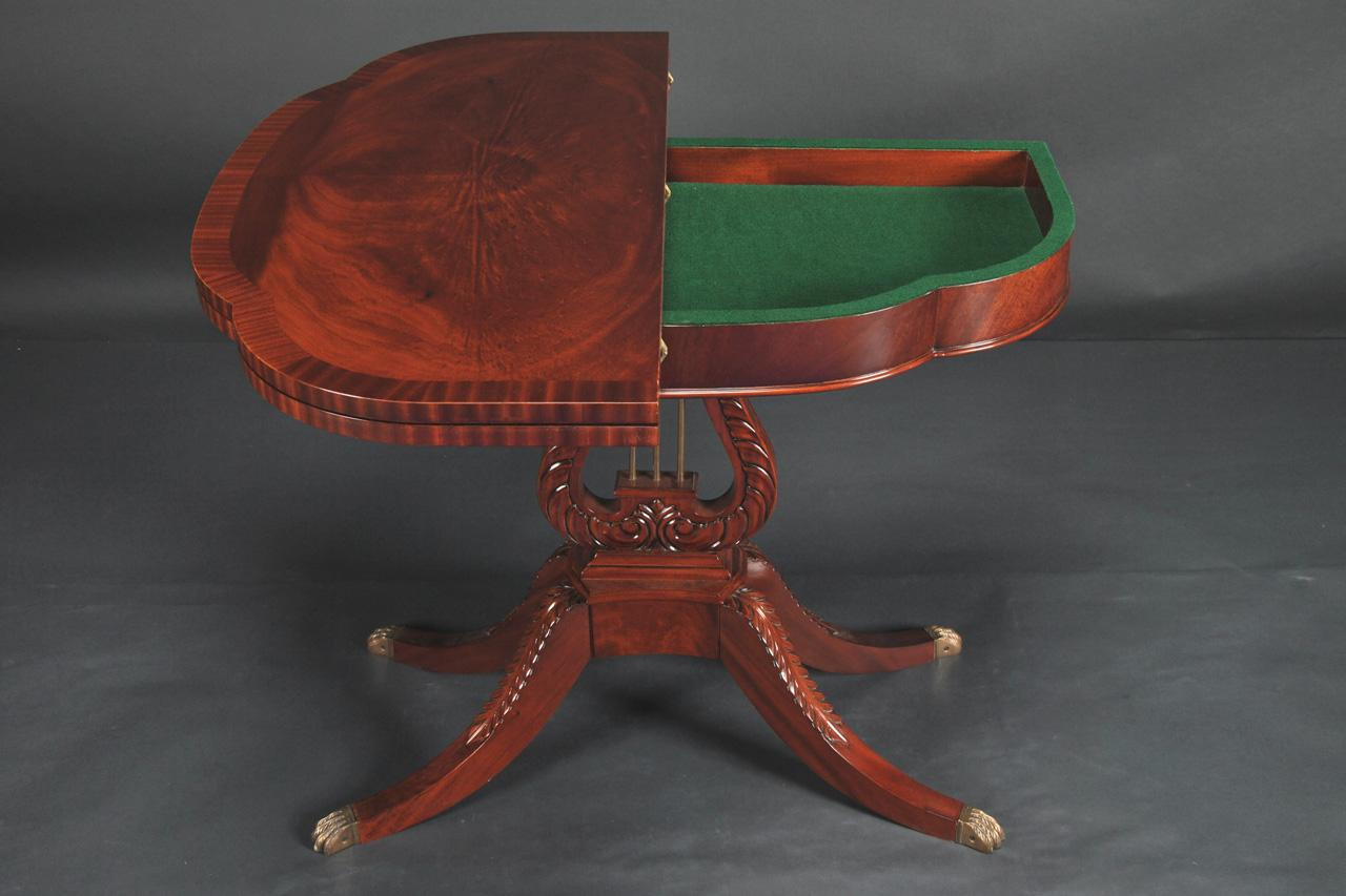 Classical Lyre Base Mahogany Game Table With Swivel Top