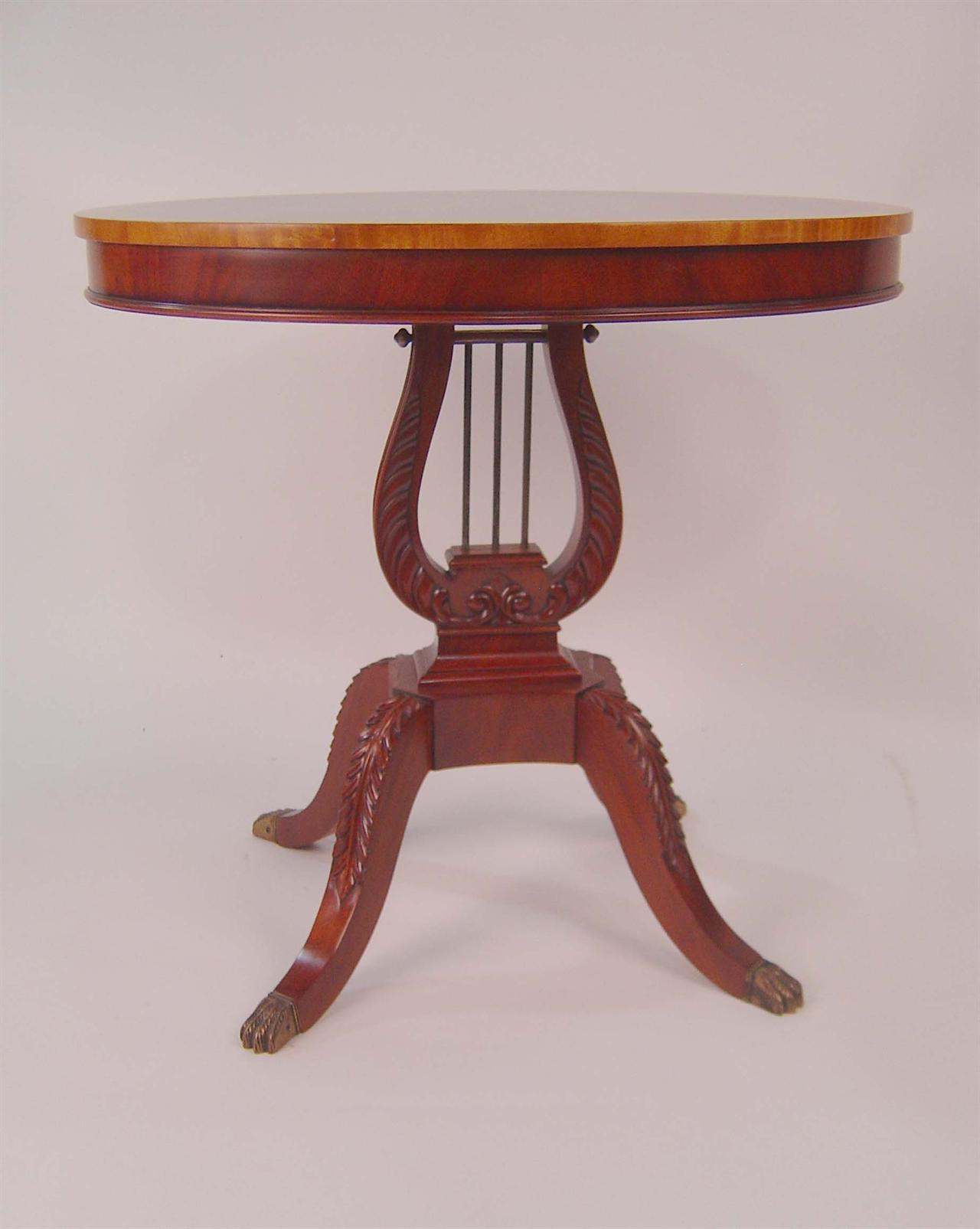 Mahogany 32 inch Diameter Duncan Phyfe End Table : lyre based lamp table 2587 from antiquepurveyor.com size 1280 x 1605 jpeg 89kB