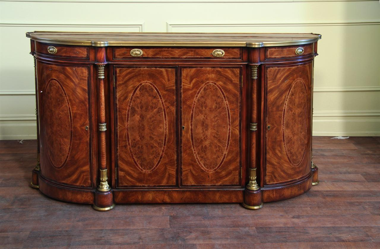 mahogany and walnut bowfront side cabinet or demilune