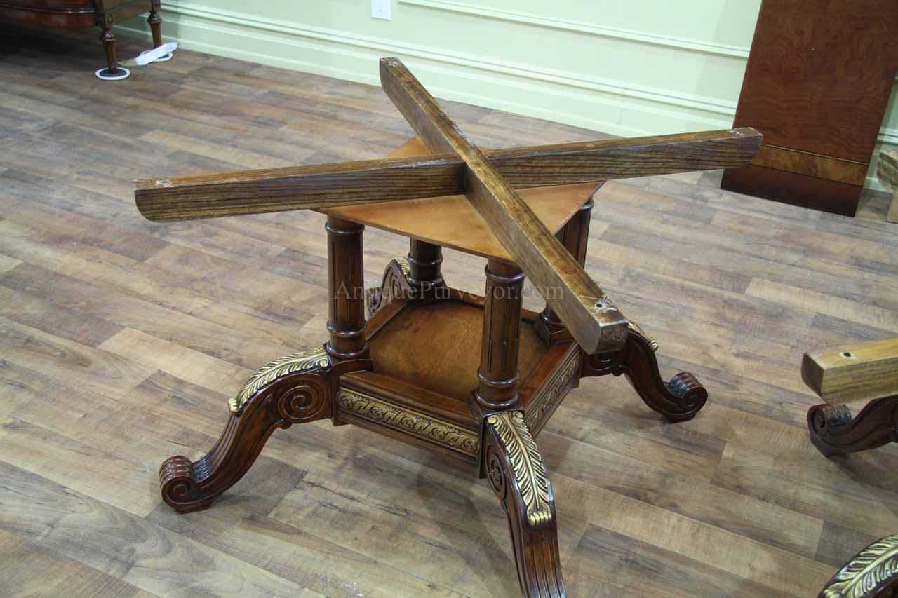 Mahogany And Walnut Dining Room Table With Self Storing Leaves