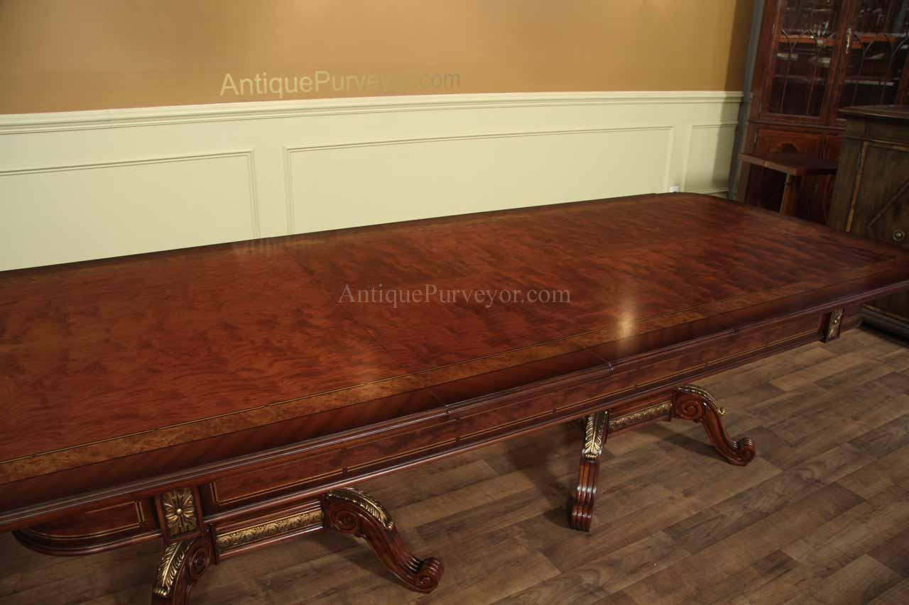 details about mahogany and walnut dining room table with self storing
