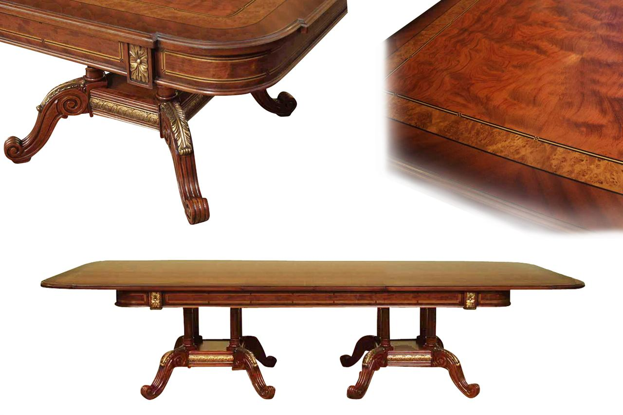 Mahogany and walnut dining room table with self storing leaves for Dining room tables with leaves