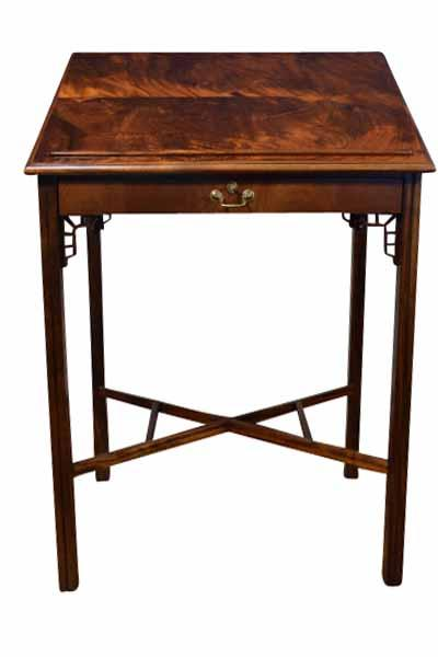 Antique reproduction architects standing desk with tilting top. - Fine Mahogany Architect's Desk, 1700's Colonial Styling