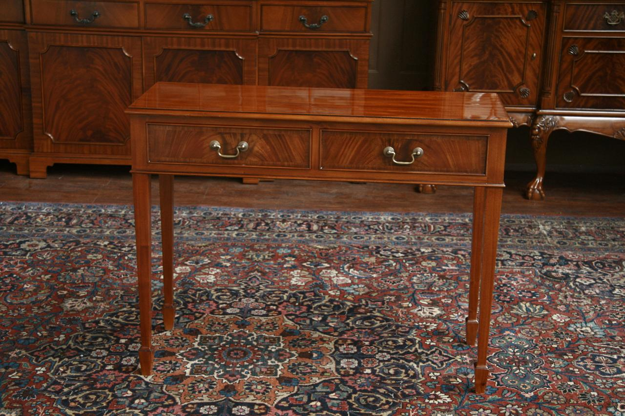 Mahogany Two Drawer Console Accent Table