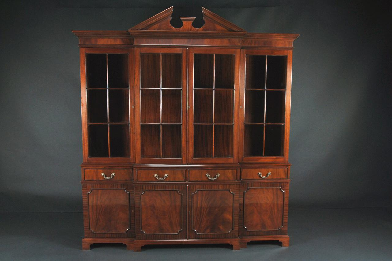 Mahogany China Cabinet/Breakfront with Flame Mahogany Door Panels