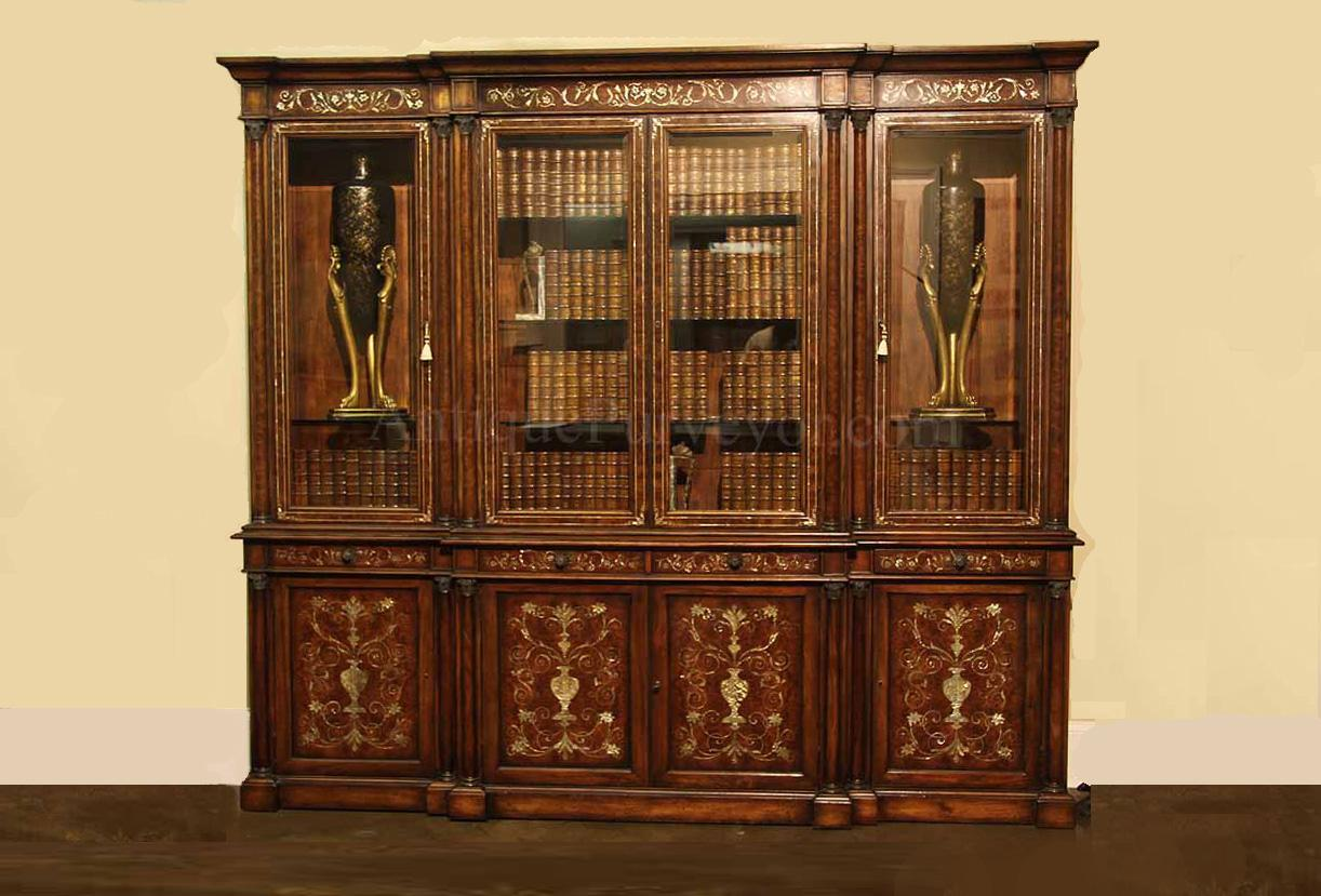 Attractive Mahogany China Cabinet With Mother Of Pearl Inlay