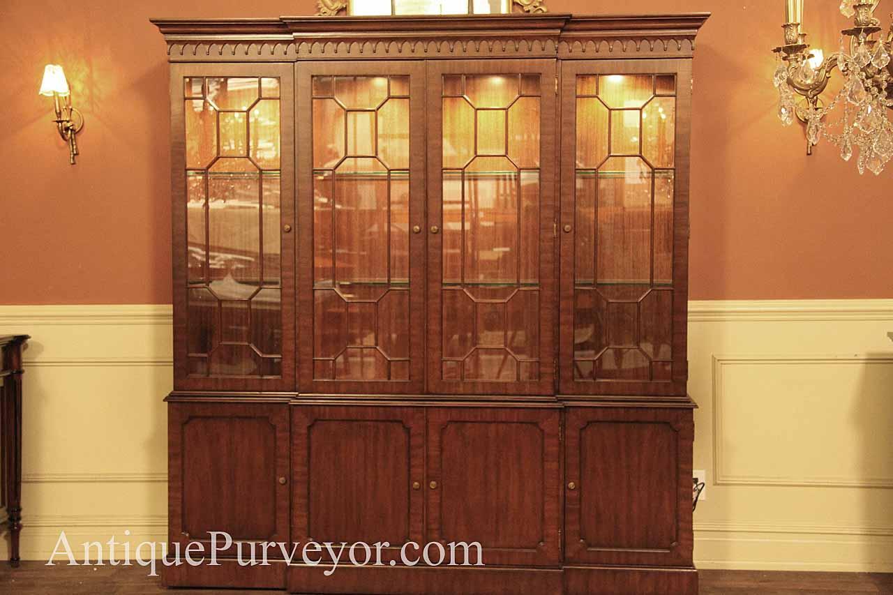 mahogany china cabinet hutch breakfront fine reproduction rh antiquepurveyor com glass china cabinet with lights