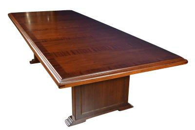 Mahogany conference table with banding, perfect for the high end office or home.  Seats up to 14.