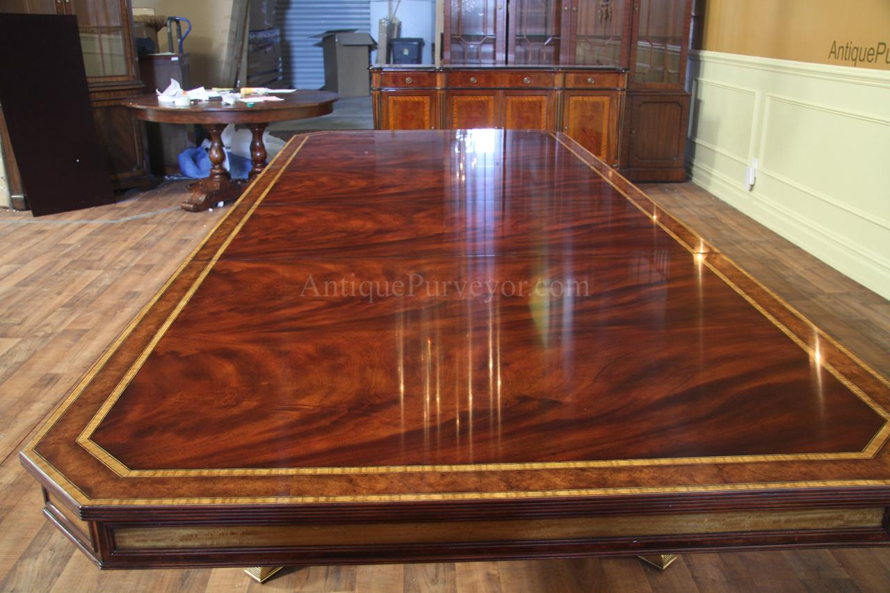 Large Mahogany Dining Table With Self Storing Leaves