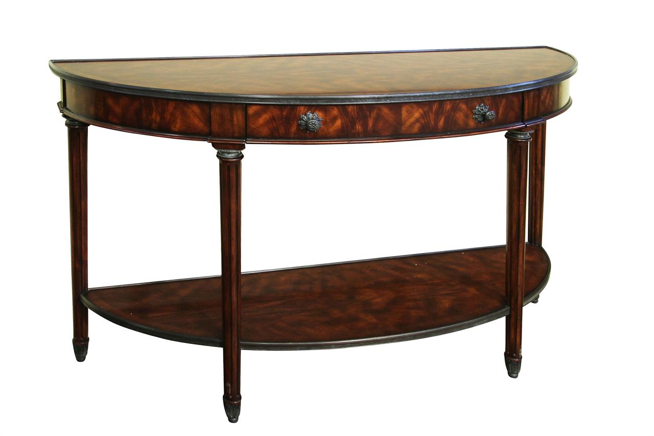 Bowfront Mahogany Console Table With Brass Accents