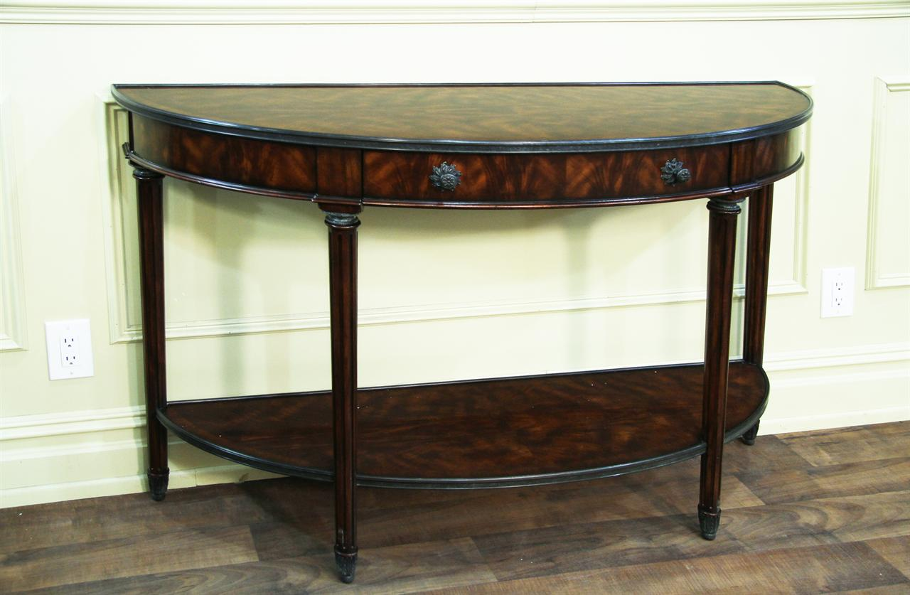 Bowfront mahogany console table with brass accents mahogany console table geotapseo Gallery
