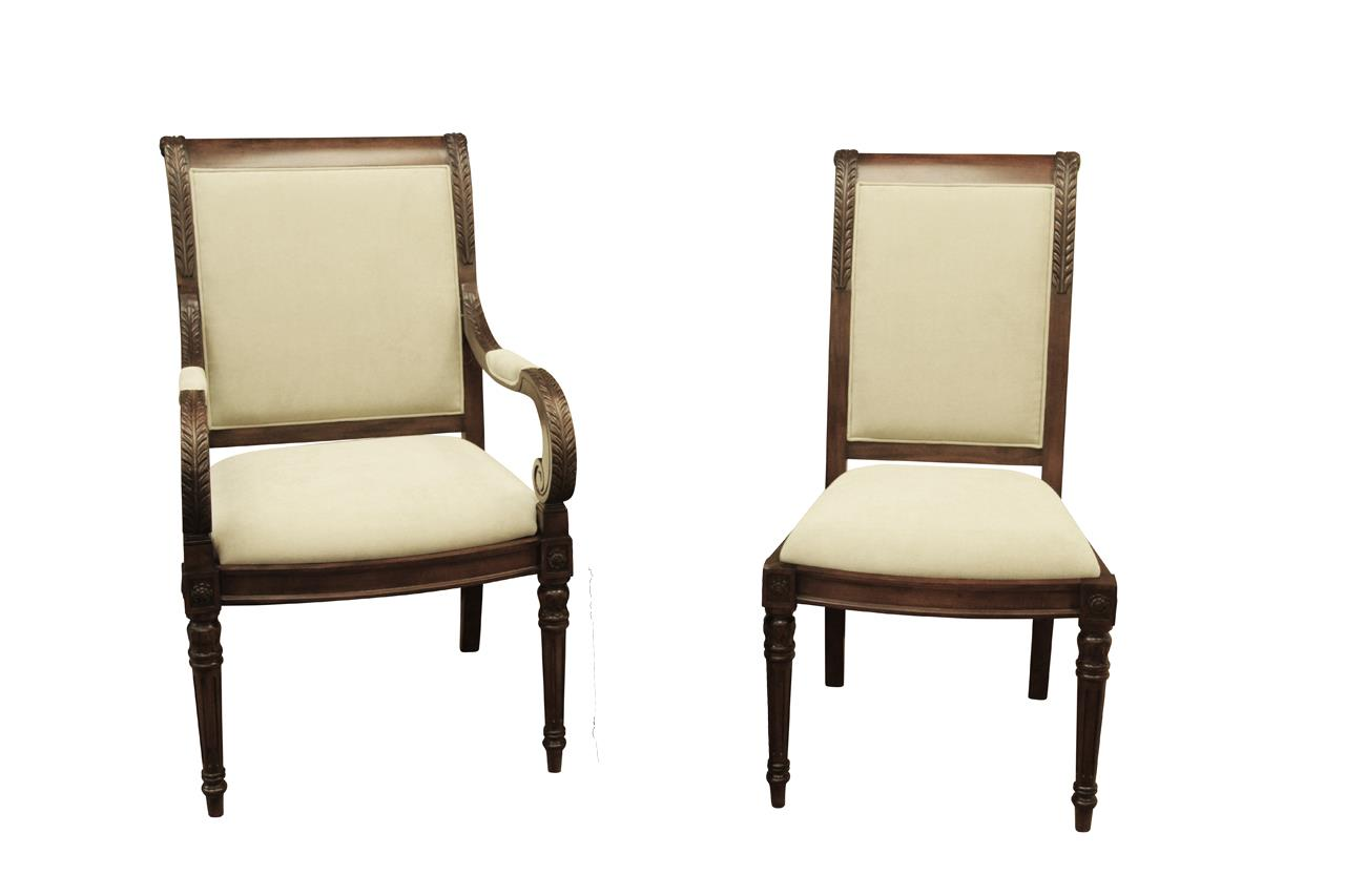 New french style upholstered dining room chairs stain for Dining room upholstered chairs