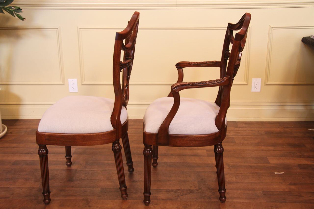 Mahogany Shield Back Dining Chairs Inlaid Shieldback Chairs