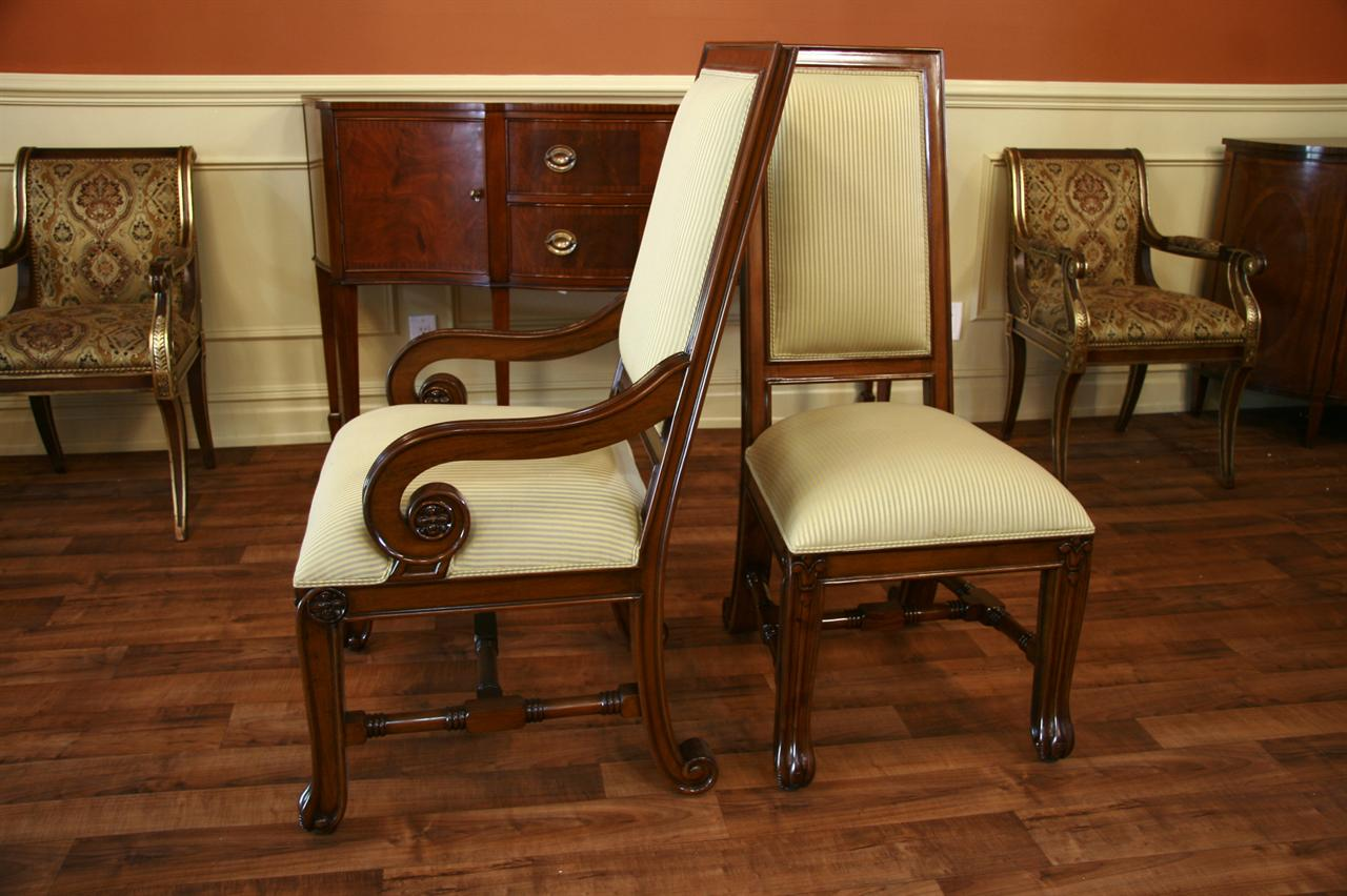 large mahogany dining room chairs, luxury chairs, upholstered