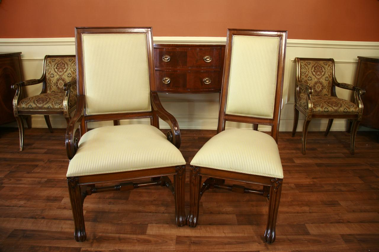 walnut finish on solid mahogany upholstered dining chairs