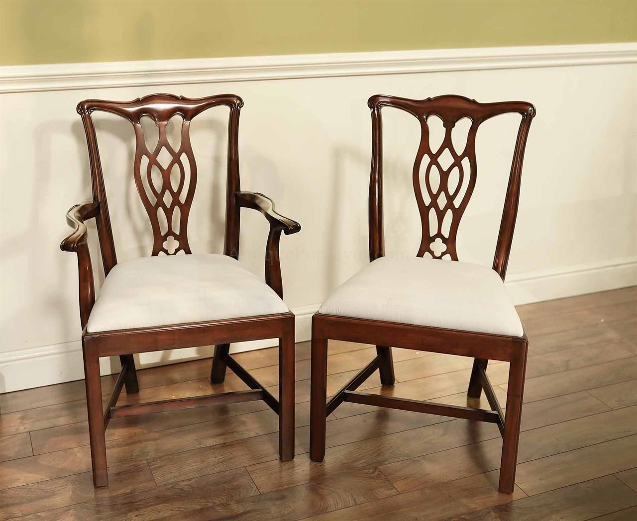 Mahogany Dining Room Chairs, Straight Leg Chippendale Dining Chairs