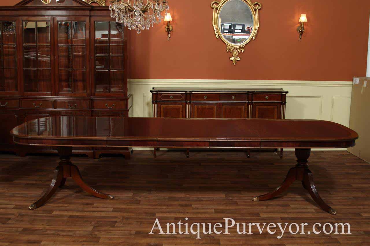 Mahogany Dining Table Shown With All Three Leaves In Place Seats 12 14 People At This Size