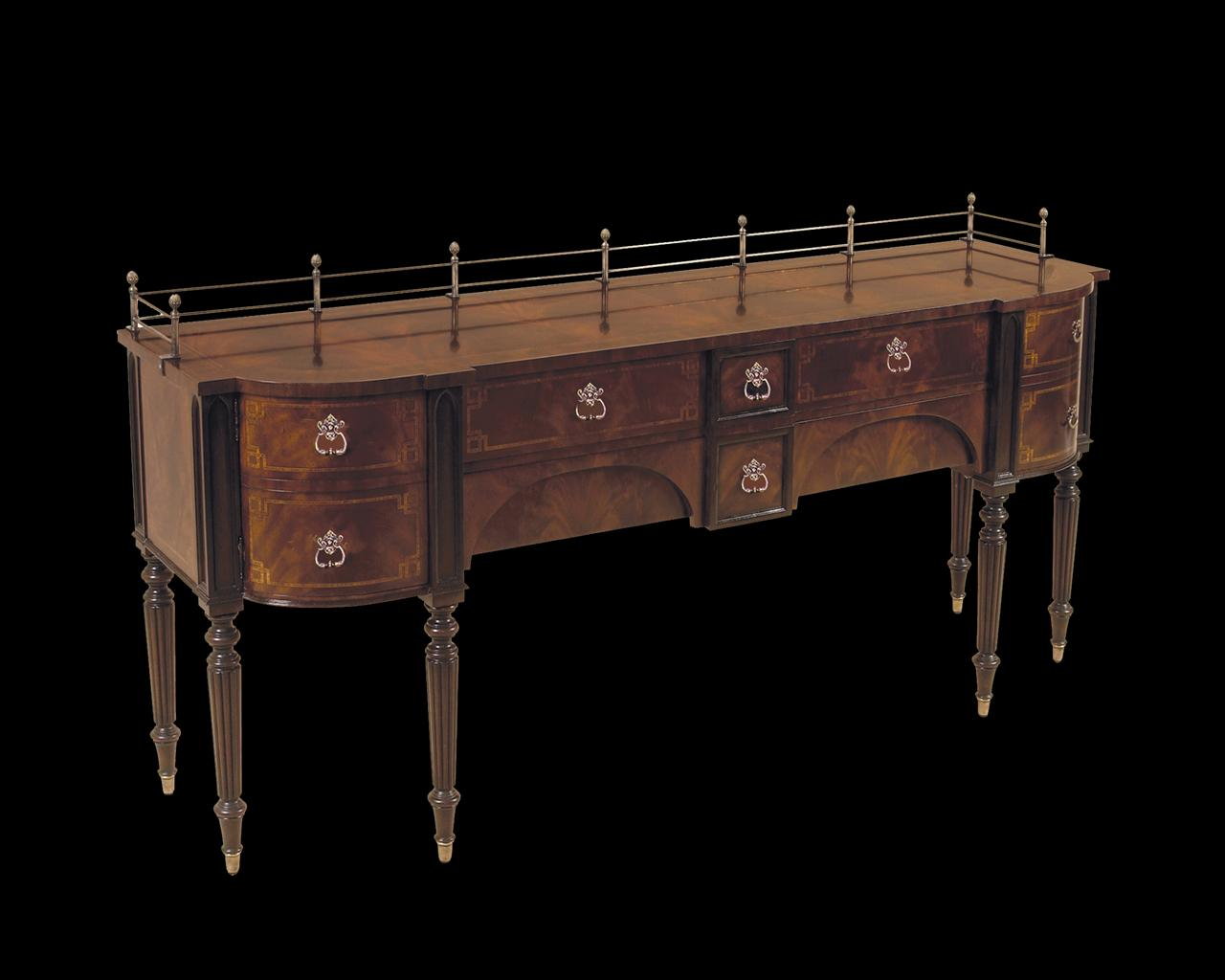 mahogany dining room sideboard brass accents. Black Bedroom Furniture Sets. Home Design Ideas