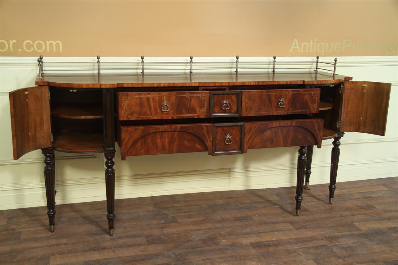 Mahogany dining room sideboard with antiqued brass accents for Dining room sideboard