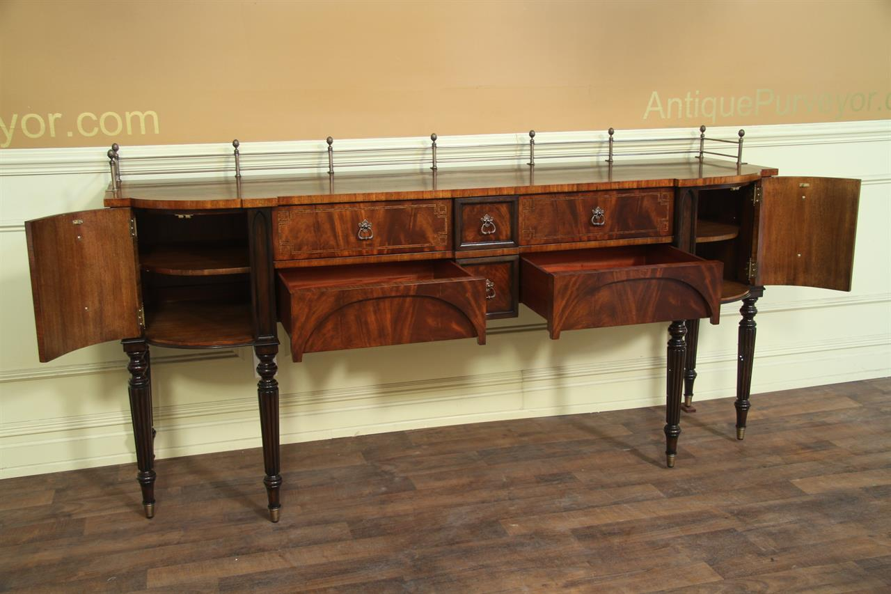 Mahogany Dining Room Sideboard with Brass Accents. Mahogany dining room sideboard   Brass accents