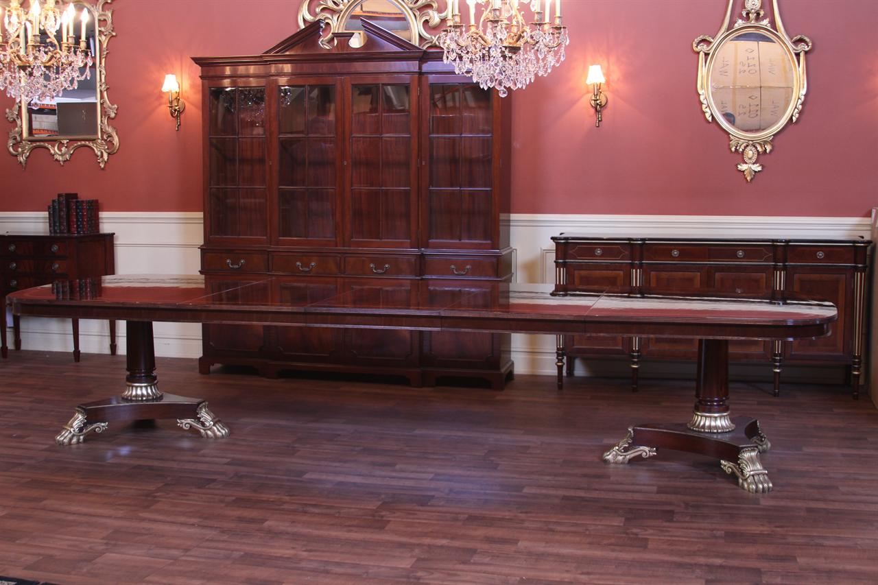 Extra large and wide high end american made mahogany for Mahogany dining room