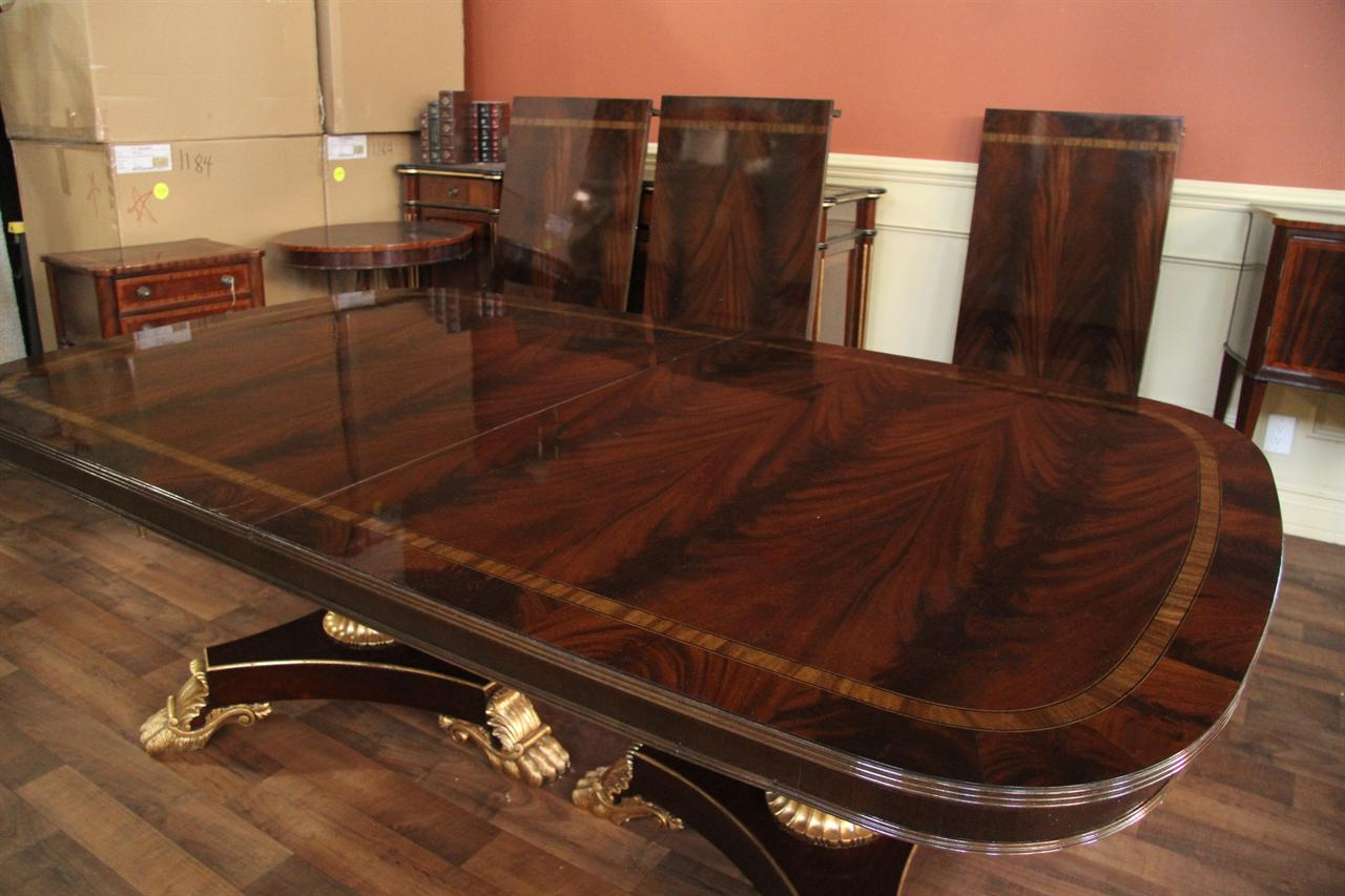 Extra large and wide high end american made mahogany dining room table ebay - Colorful dining room tables ...