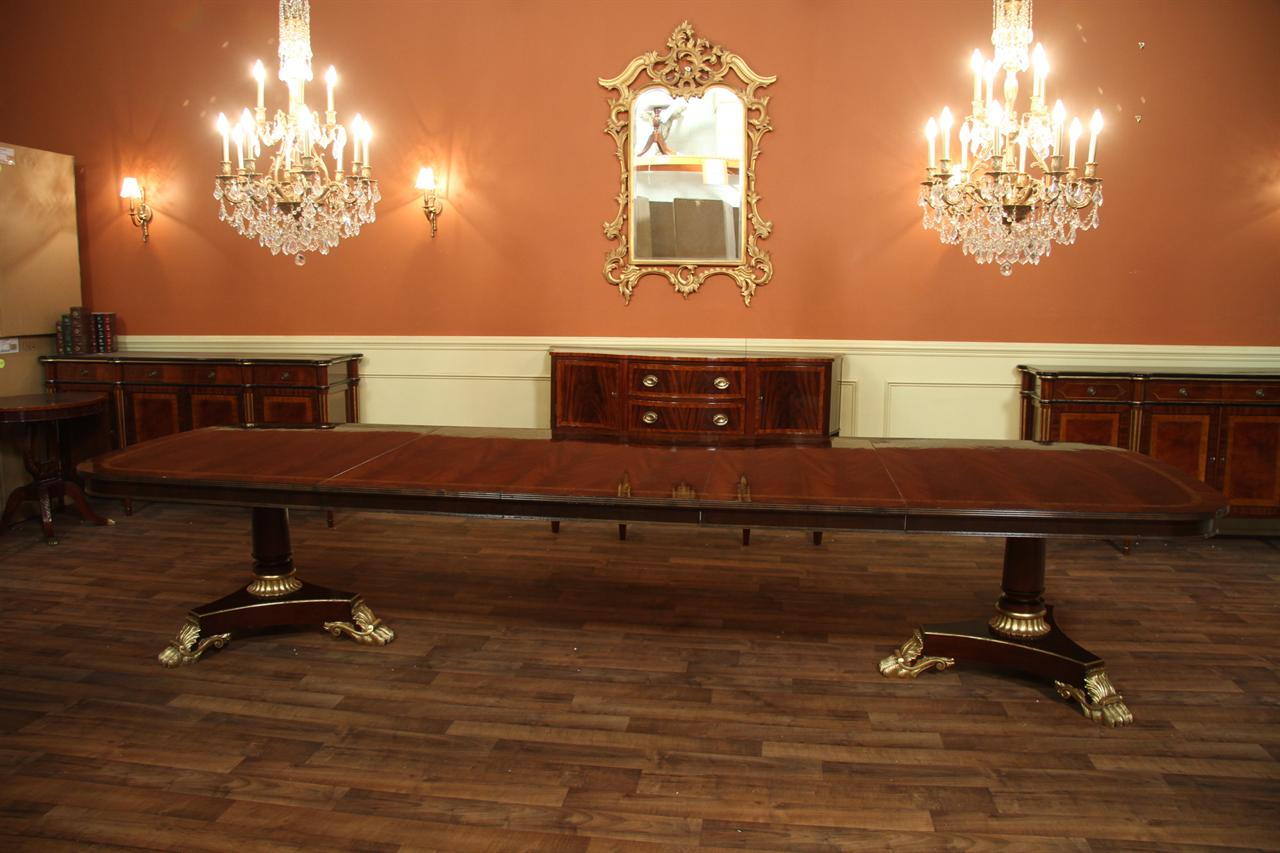 Superior Extra Large Mahogany Table With Fine Banding And Regency Style Pedestal  Base.